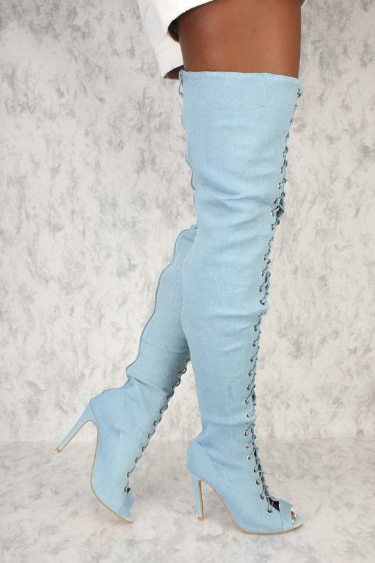99af822b65f3 Sexy Light Denim Front Lace Up High Thigh High Heel Ami Clubwear Boots