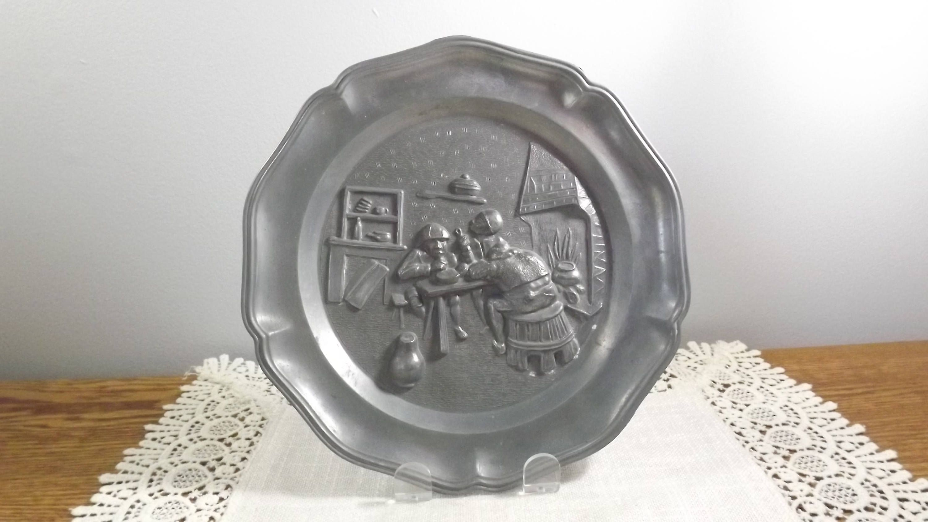 Vintage Pewter Plate 1950s Collectible Wall Decor with Angel ...