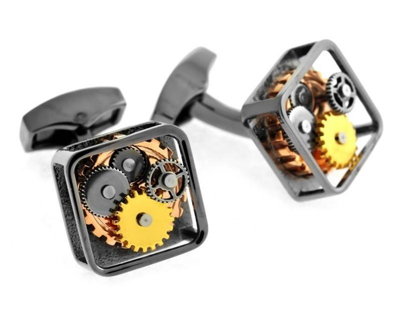 Tateossian Gunmetal Gear Cuff Links, Brass