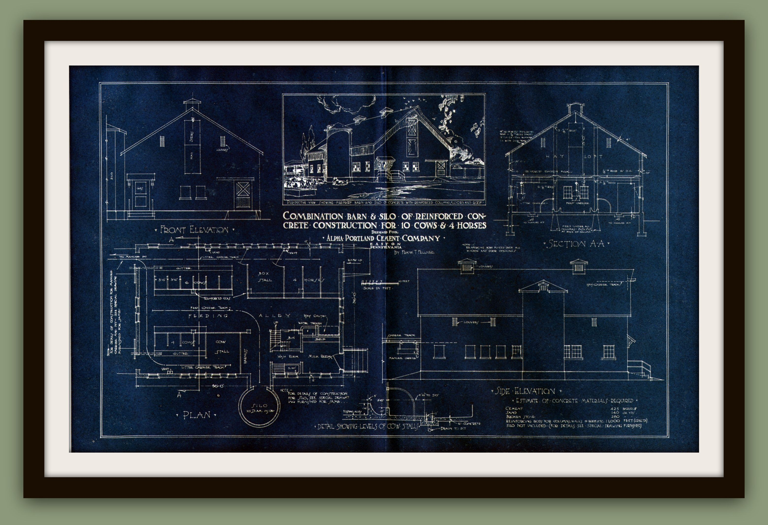 Vintage farmhouse silo blueprint blueprint art pinterest combination barn and silo vintage blueprint malvernweather Image collections