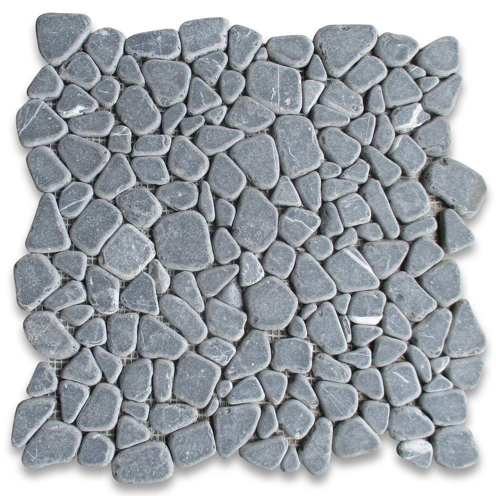 Nero Marquina Black Marble Pebble Stone Mosaic Tile River Rocks Tumbled Stone Mosaic Tile Stone Mosaic Mosaic Tiles