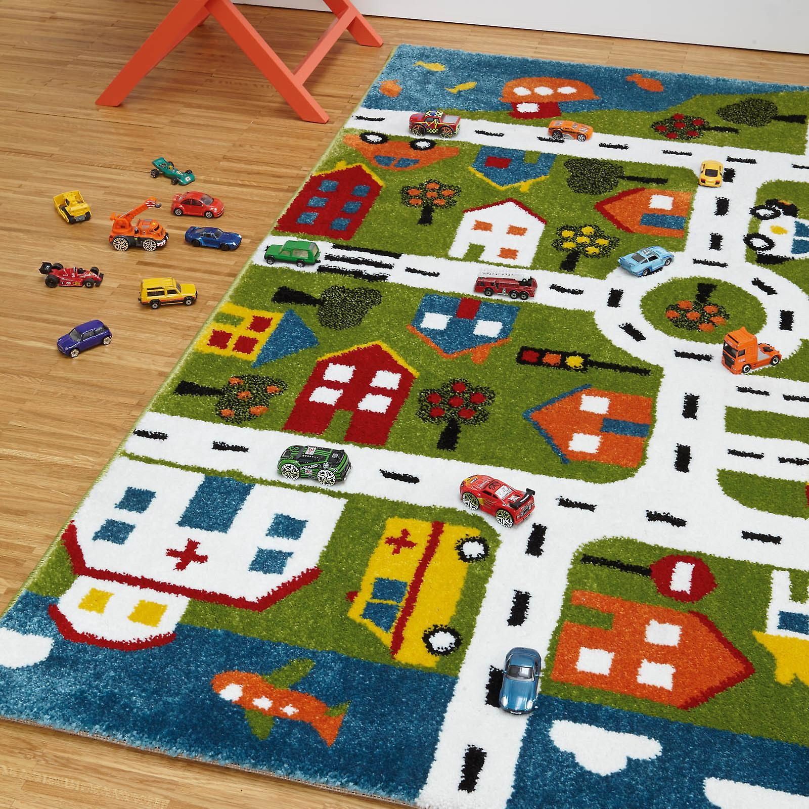 Kids Fun Interactive Multi Play Town Map Bedroom Rug -