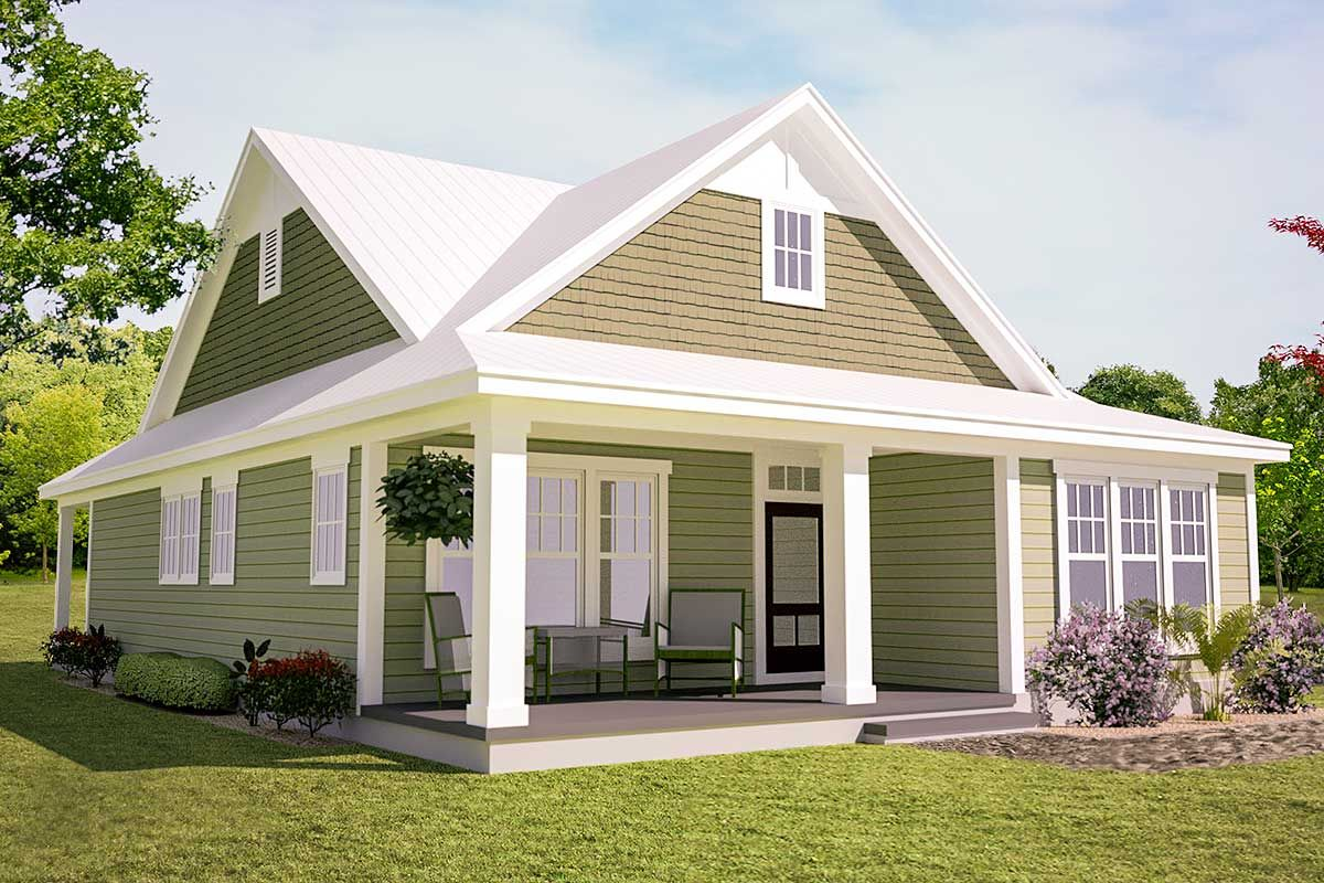 Plan 15043nc Southern Cottage For A Narrow Lot Ranch Style House Plans Architectural Design House Plans Southern House Plans
