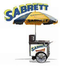 Sabrett Hotdog Cart  We can customize it to say whatever you