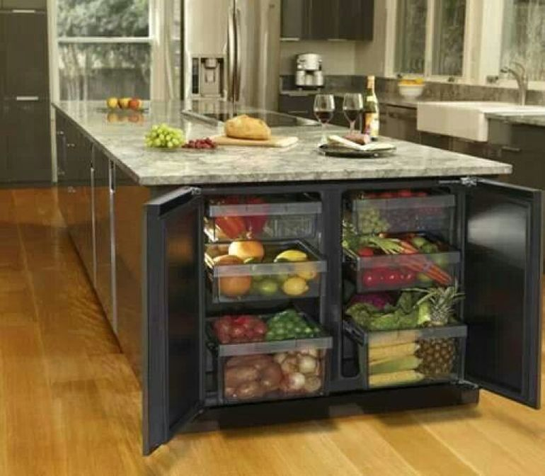 Kitchen Island Refrigerator: Fridge At End Of Island. Great Place For Bottled And