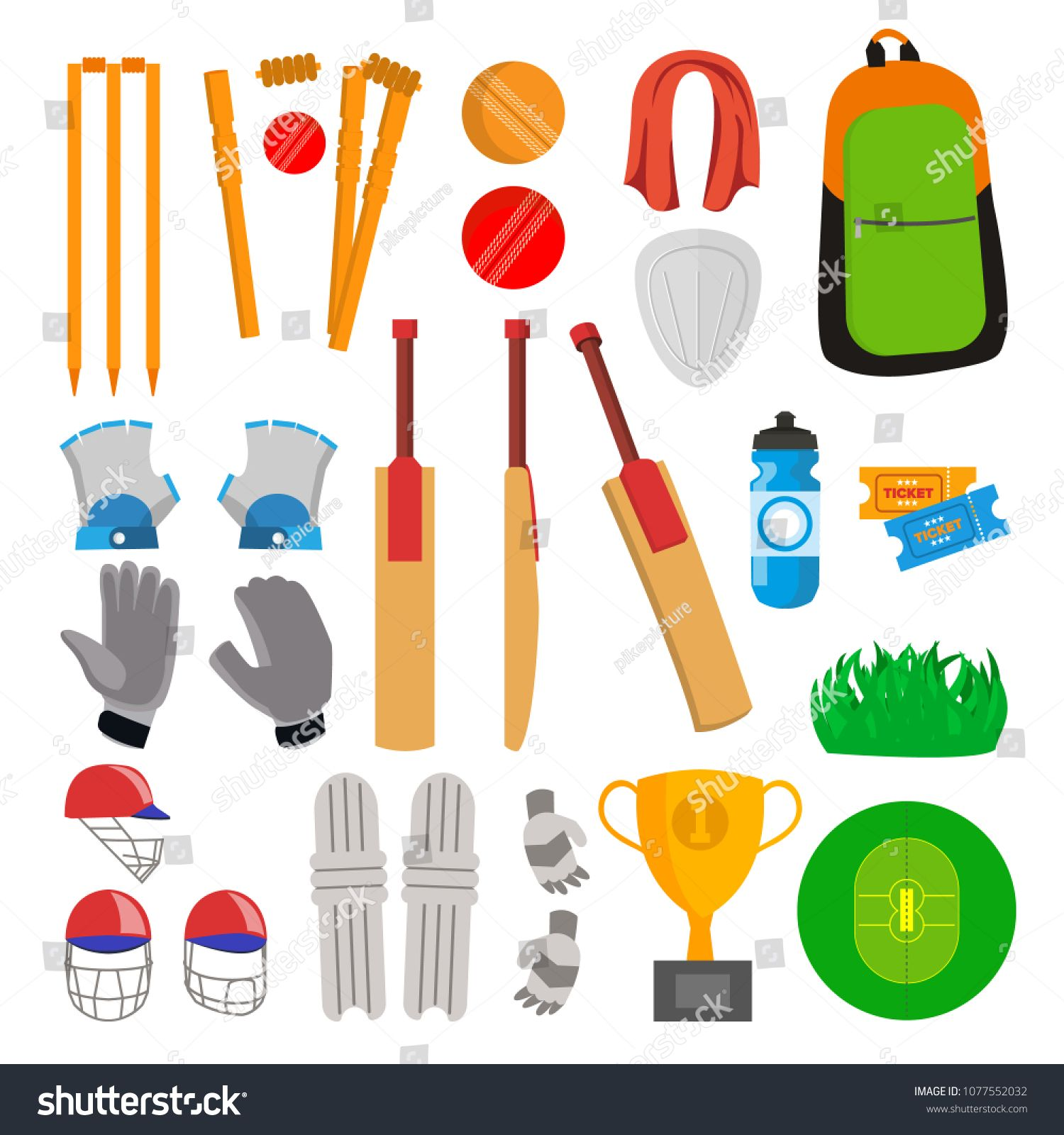 Cricket Icons Set Vector Cricketer Accessories Bat Gloves Helmet Ball Cup Playing Field Isolated Flat Cartoon Illus Icon Set Vector Icon Set Bat Vector
