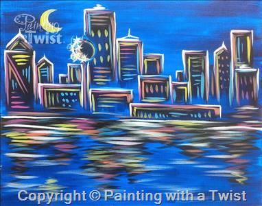 Neon Dallas Skyline 9 13 2016 Grapevine Tx More Paintings