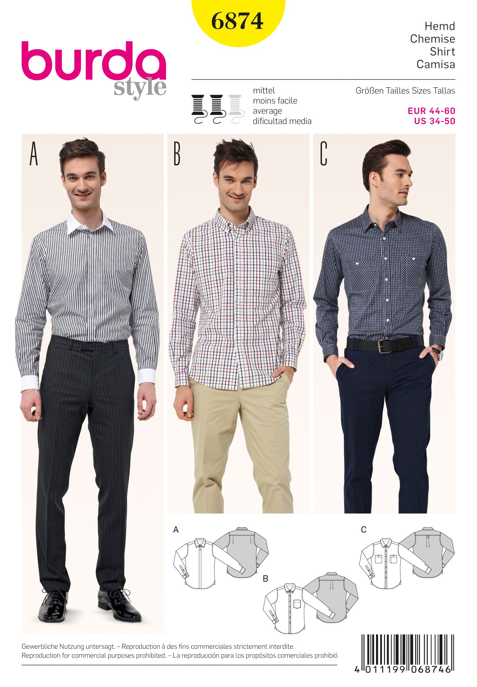 Purchase Burda 6874 Men\'s Shirts and read its pattern reviews. Find ...