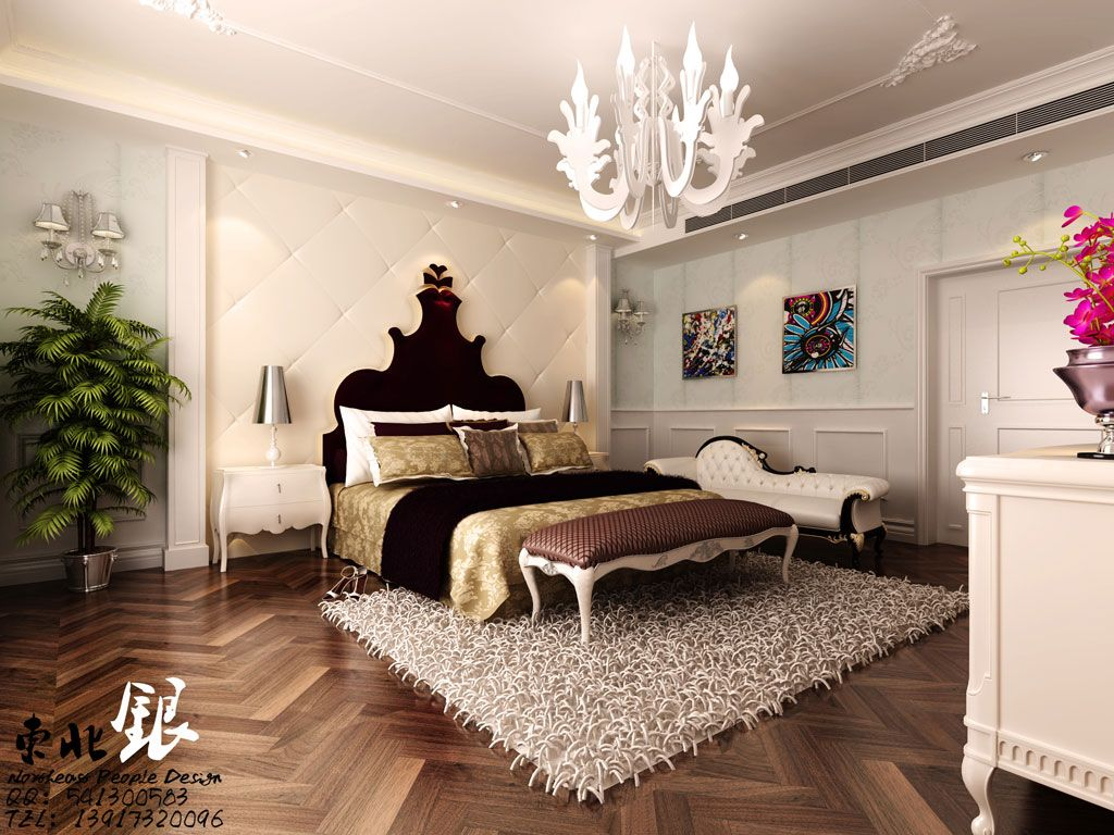 Modern Bedroom Wood Paneling Brown Sofa Furry Rug