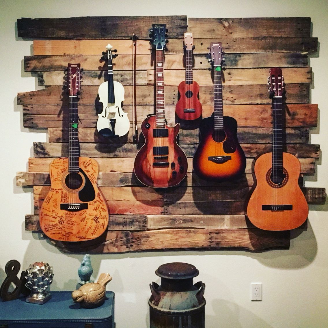 Guitar And Instrument Hanger Made From Up Cycled Pallets