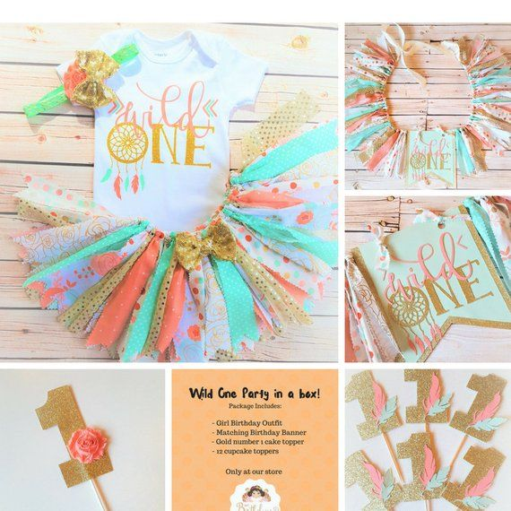 Wild one tutu outfit,Peach,Mint and Gold Wild One Dreamcatcher Birthday Outfit,Tribal tutu outfit,Baby Girl Boho Theme First Birthday #firstbirthdaygirl
