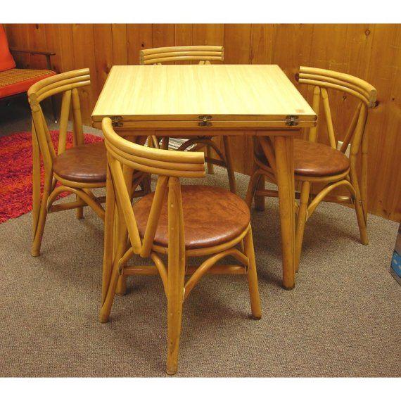 Vintage Tiki Rattan Bamboo 1950s Table And 4 Chair Set Hawaiian Tiki Foldout Table Formica Top Chairs For Small Spaces Bamboo Table Vintage Tiki