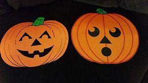 Vintage Halloween Die Cut Pumpkins Set Of Two Scary Happy Ebay