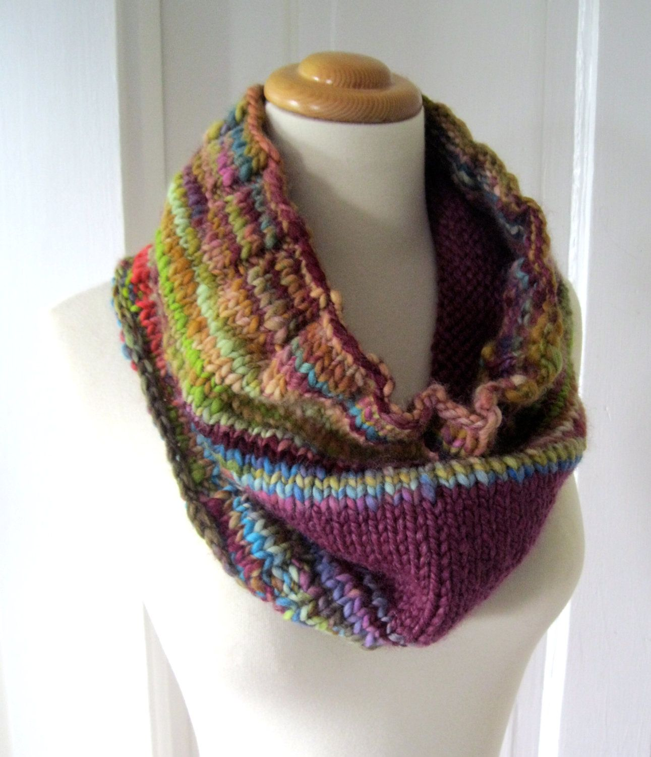 Gold and Plum Hand Spun Cowl | Knitting Projects | Pinterest ...