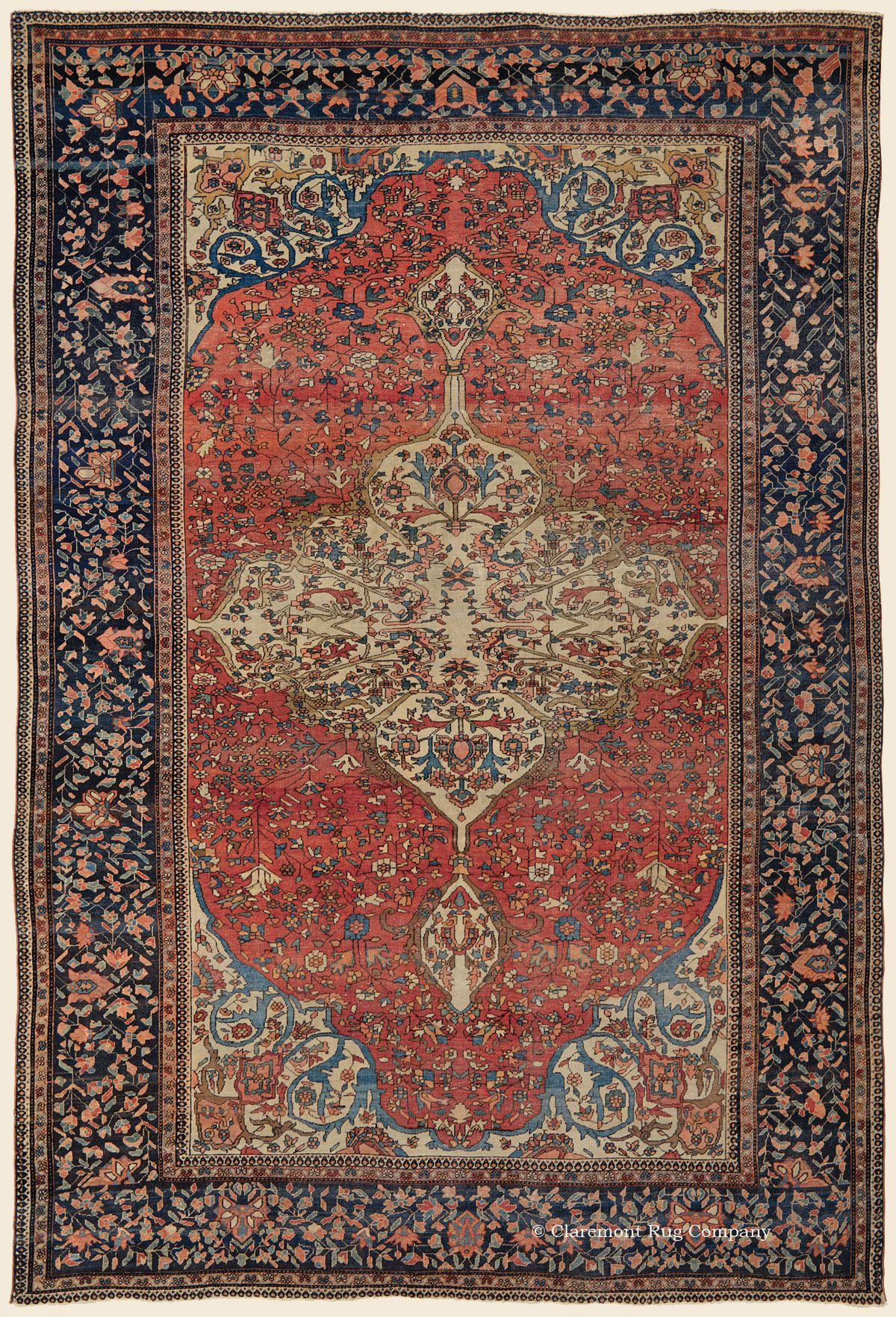 Ferahan Sarouk 6 8 X 9 11 Circa 1850 West Central Persian Antique Rug Claremont Rug Company Rugs Antique Persian Carpet Persian Carpet