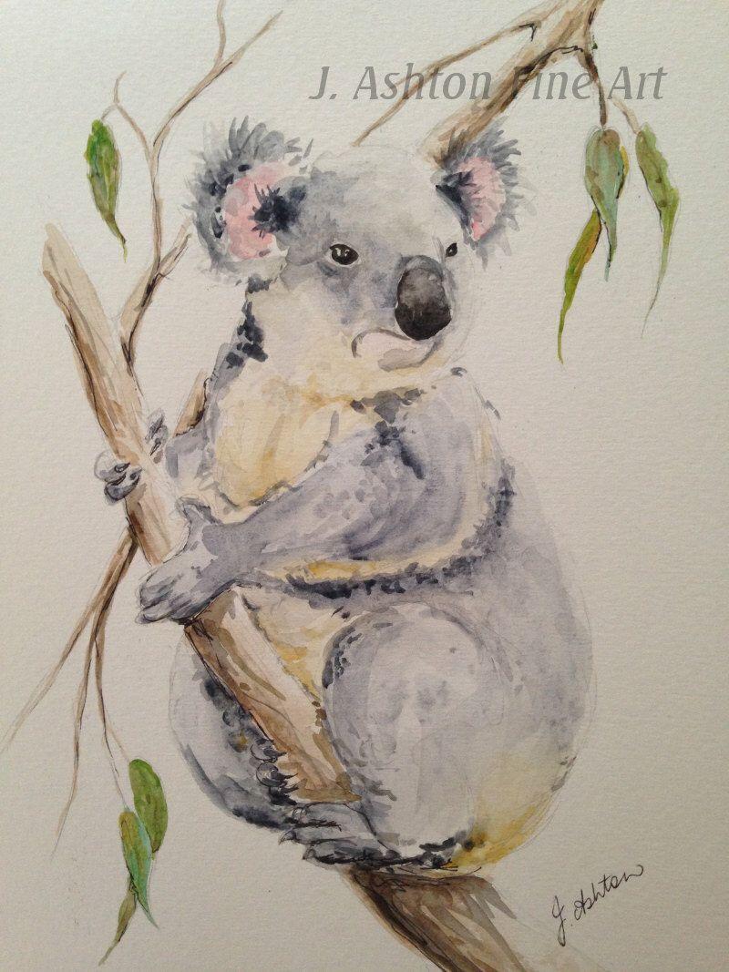 Original Watercolor Painting Of A Koala Australian Animal Koala