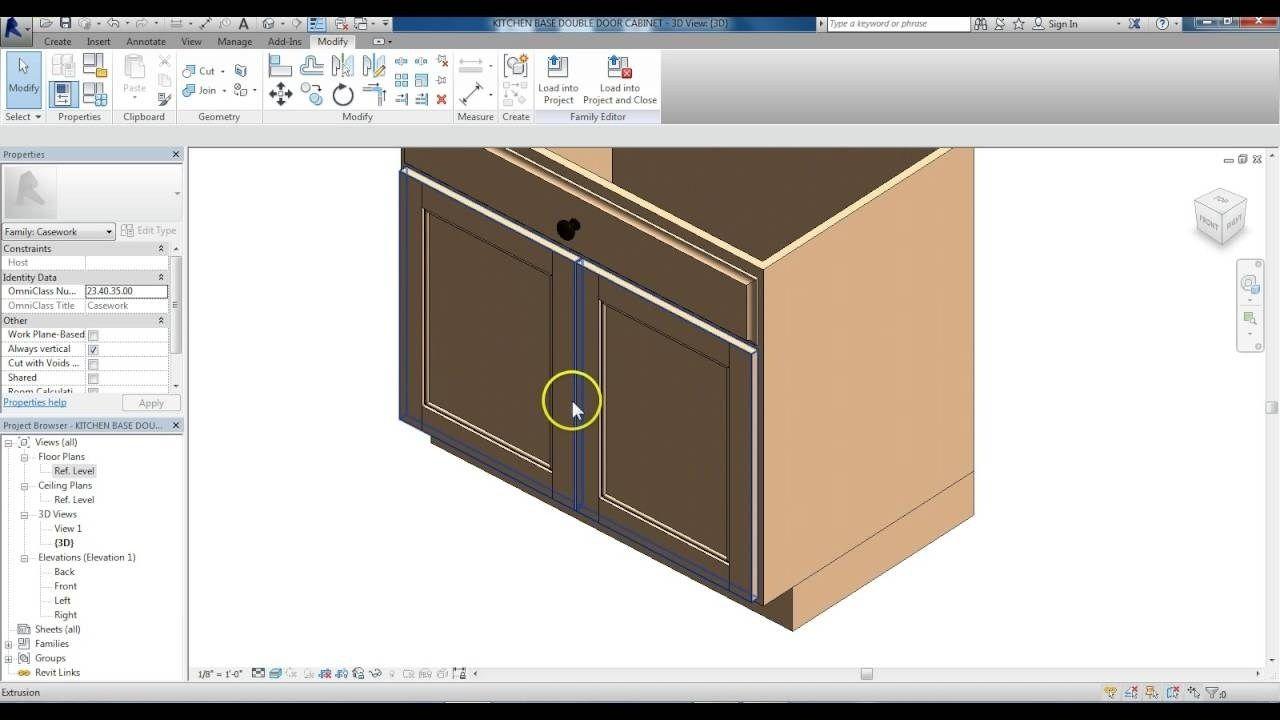 Revit Family Creation Kitchen Base Cabinet Modified To Double Door In 2020 Kitchen Base Cabinets Kitchen Cabinets Cabinet