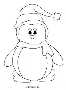 Penguin With Hat And Scarf Christmas Coloring Pages Penguin