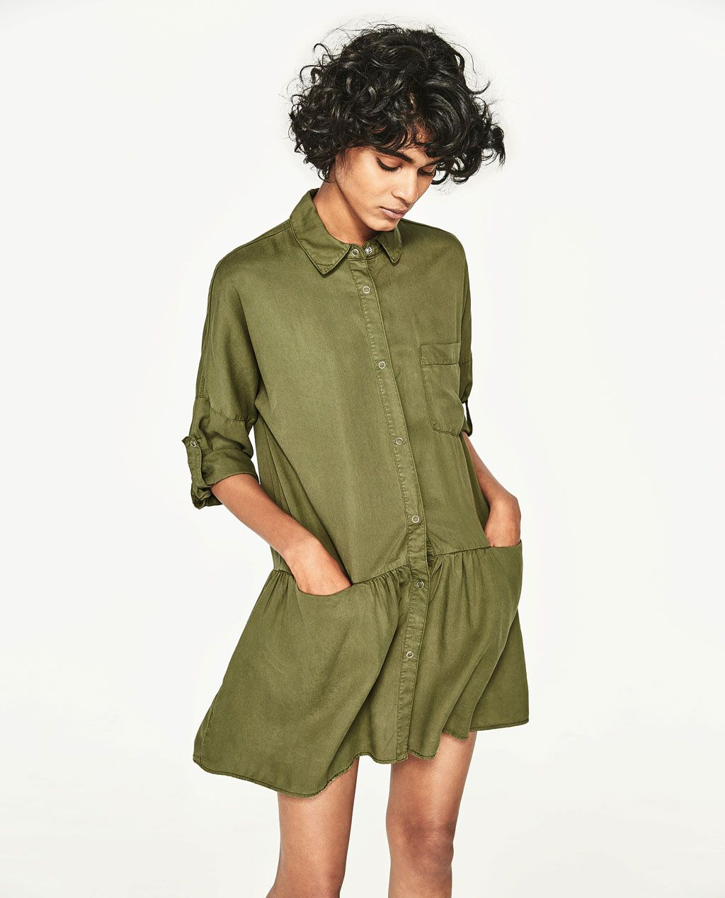 zara -shirt dress with frill - available in more colours