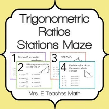 Trig Ratios Stations Maze Activity School Teaching