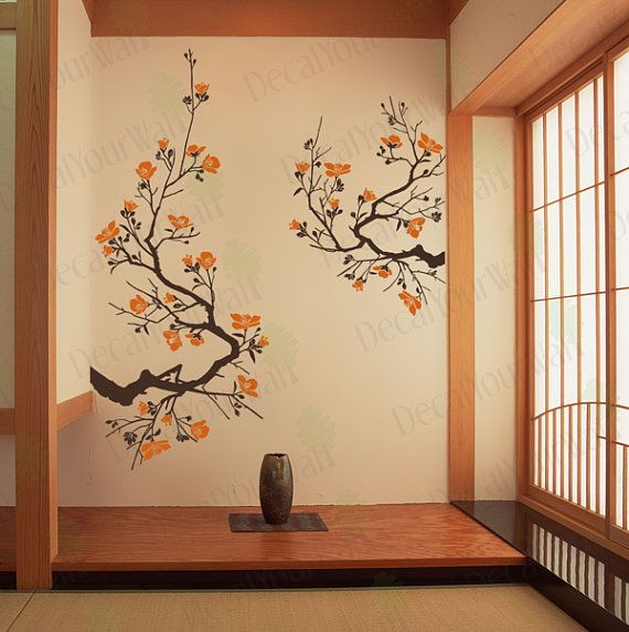 Cherry blossom wall decal large tree branch japanese wall art stickers flower nursery living - Wall decor murals ...