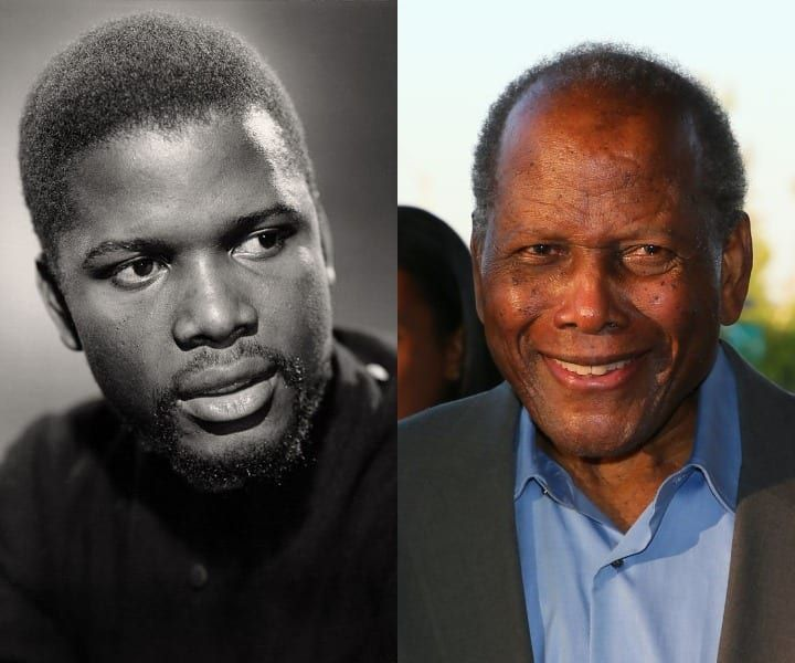 Sidney Poitier in his youth and now