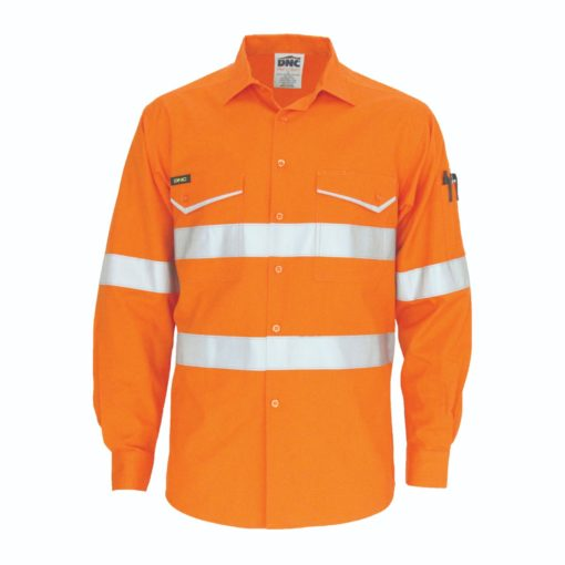 Dnc Workwear Hi Vis Ripstop Cotton Cool Long Sleeve Shirt With Csr