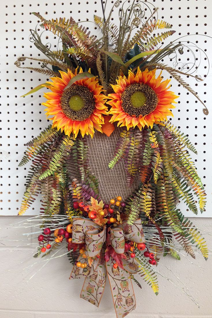 Here's another Fall owl wreath made by the talented designers @ Trees n Trends.www.treesntrends.com/specials #scarecrowwreath