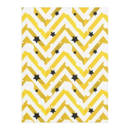 #gold - #Golden Chevron And Stars | Fleece Blanket