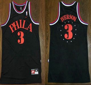 81166dd49 ... best price philadelphia sixers jersey 3 allen iverson 1964 black  hardwood classics soul swingman throwback jerseys