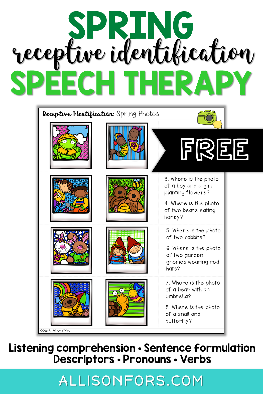 Free Receptive Identification Photos Speech Therapy In