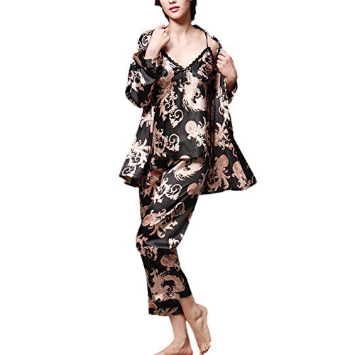 ae0ebe9ee8 Hankyky Womens Pajamas 3PCs Suit Silk Satin Dragon Print Pajamas Set  Sleepwear
