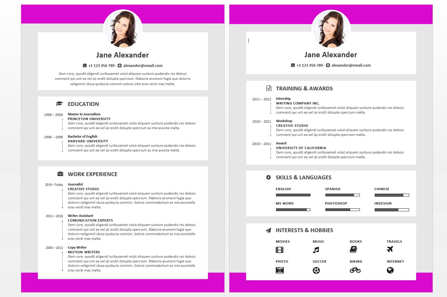 Fuchsia version of the John Alexander Resume Template