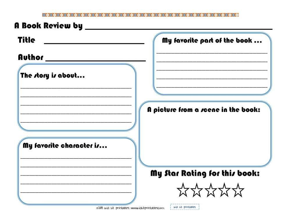 10+ Kindergarten Book Review Worksheet
