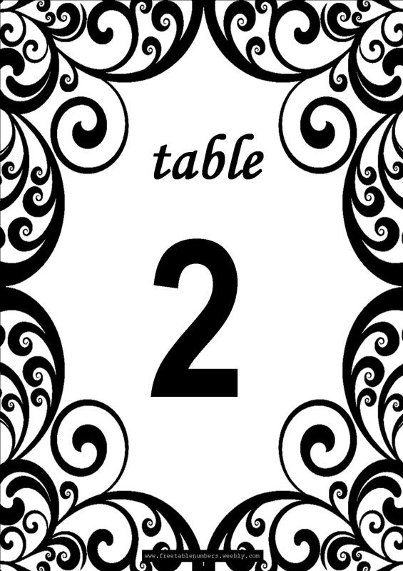 Free swirls printable diy table numbers free table for Table design numbers