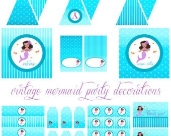 Vintage Mermaid Printable Party Decorations for Birthday Party or Baby Shower - DIY Decor by BeeAndDaisy - INSTANT DOWNLOAD