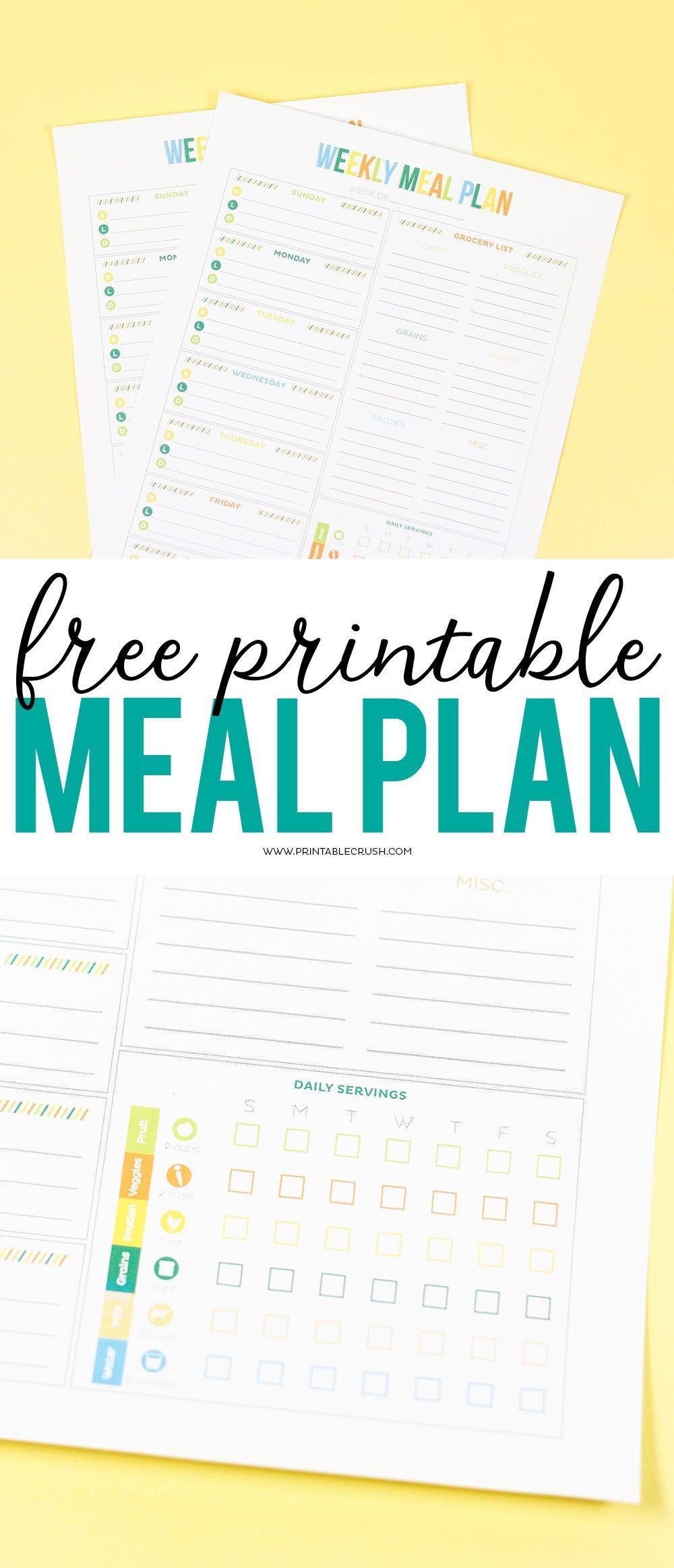 Free printable weekly meal planner meal planner