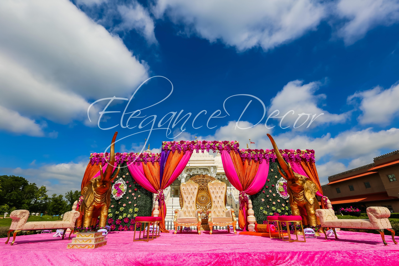colorful outdoor mandap for indian wedding ceremonyelegance