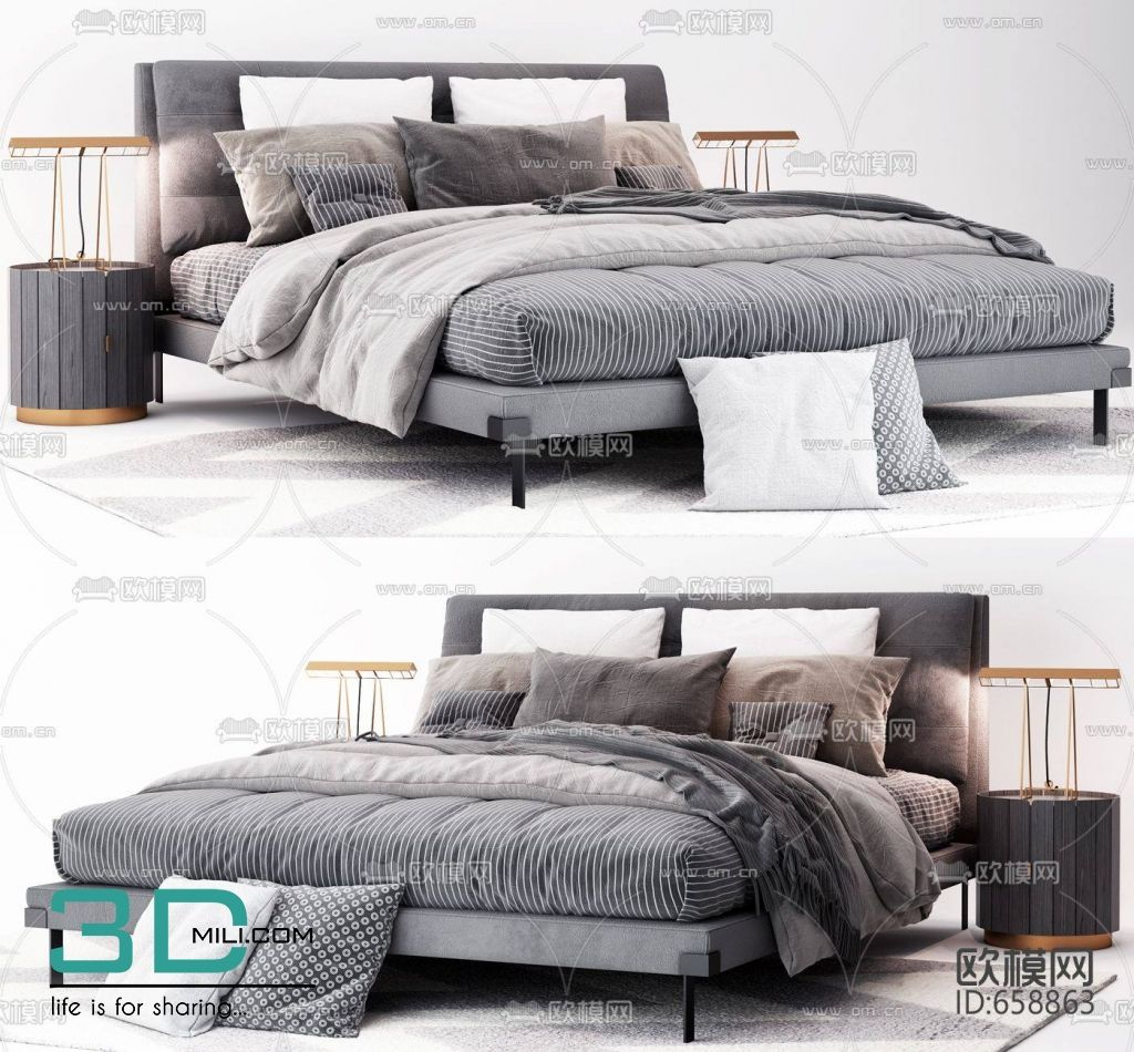 284 Bed 3dsmax File Free Download 3d Mili Download 3d Model Free 3d Models 3d Model Download Bed Bed Furniture Double Beds