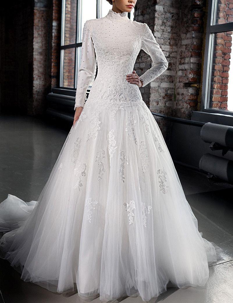 Designer Lace Corset Wedding Dress Long Sleeves Muslim Formal Halter
