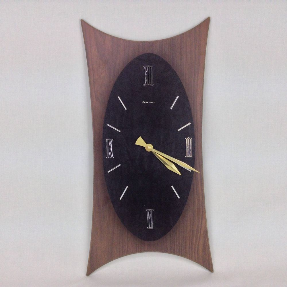 Mid Century Caravelle Wall Clock Wood Grain Black by
