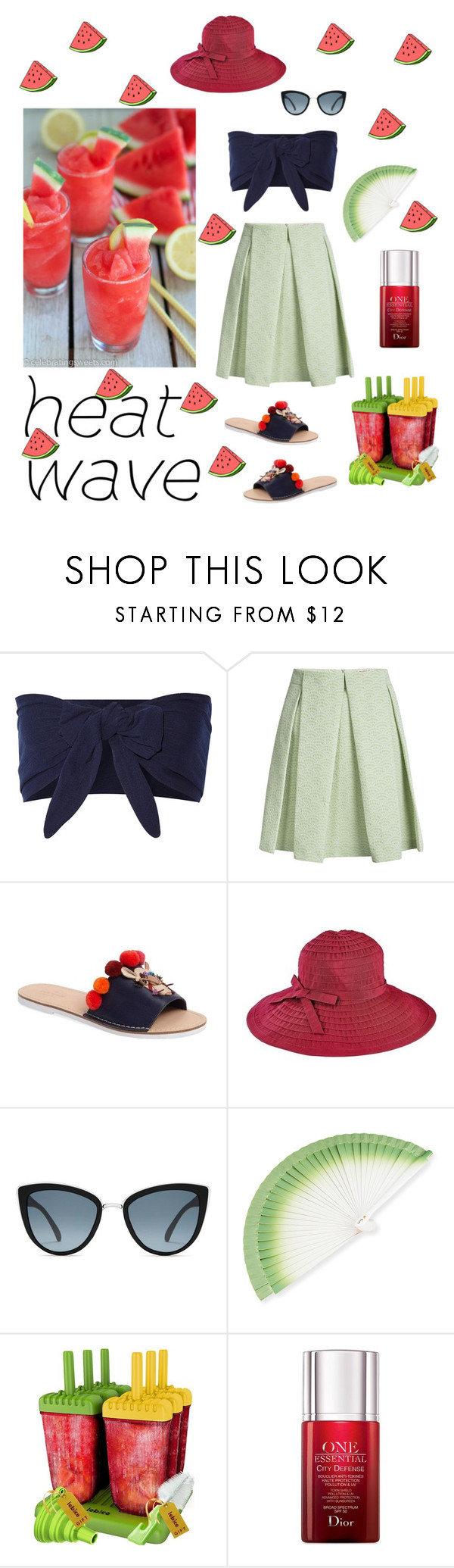 """""""Heat wave"""" by tharusmiles ❤ liked on Polyvore featuring Solid & Striped, See by Chloé, Kate Spade, San Diego Hat Co., Topshop, FernFans and Christian Dior"""