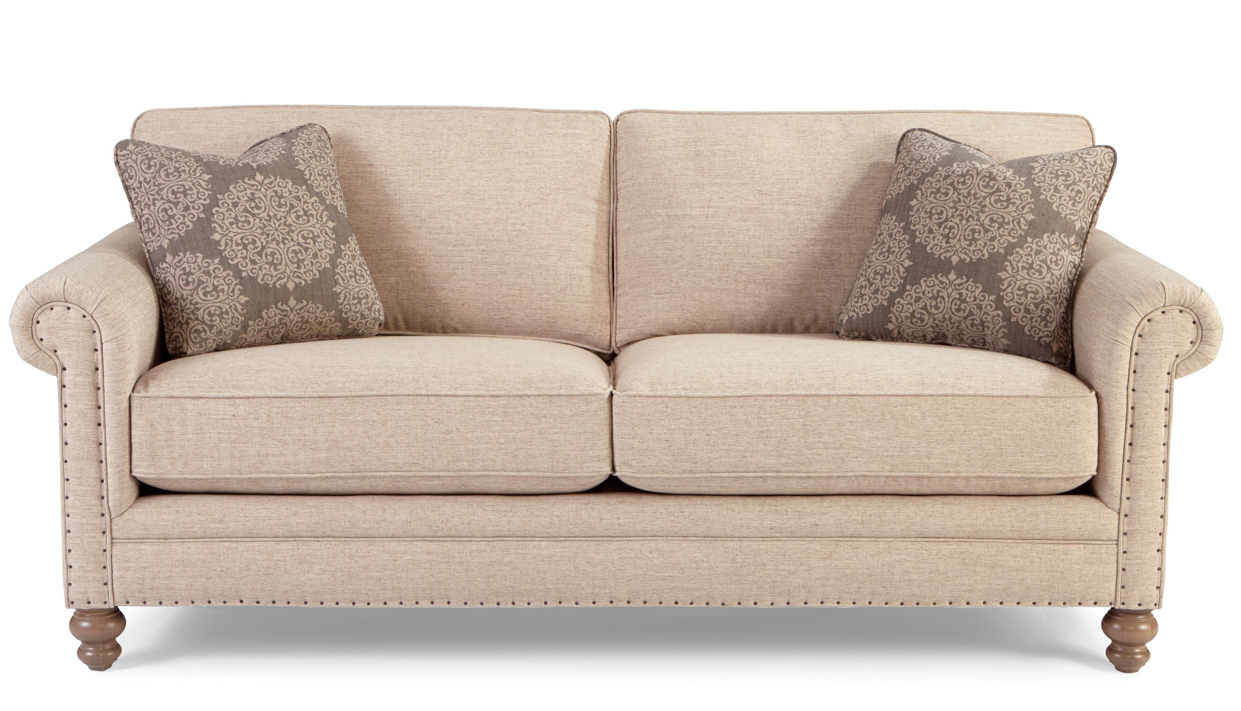 Craftmaster 749 Traditional Sofa With Rolled Arms And Vintage Tack