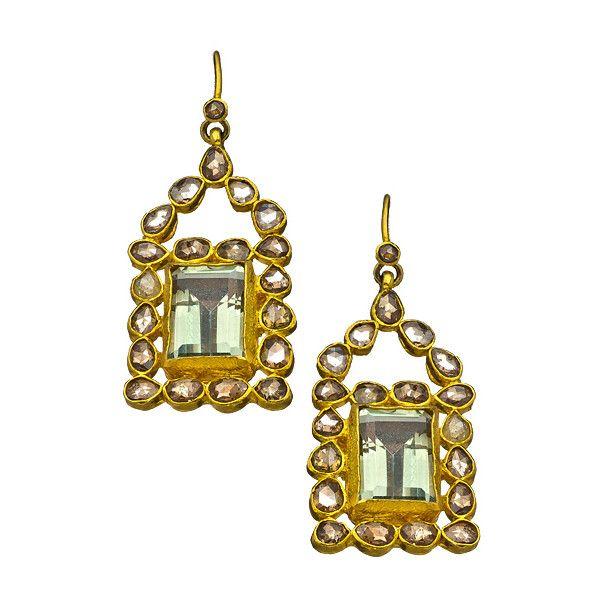 Divya Diamond Aquamarine Rectangle Drop Earrings