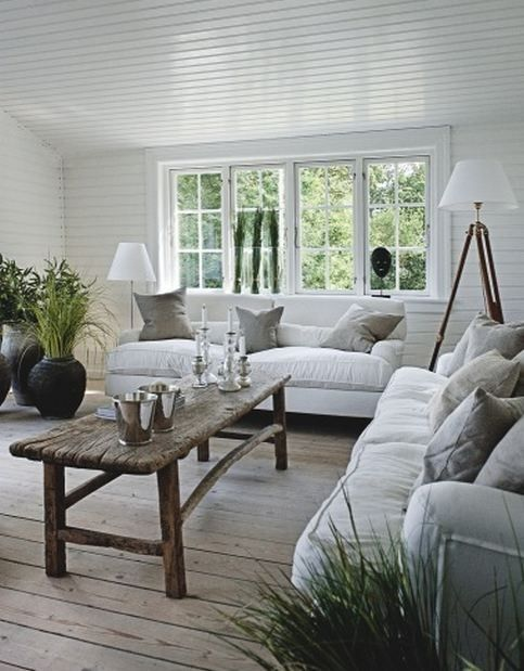 Beach House Living Room White Canvas Sofas Rustic Coffee Table Washed Floors Wood Ceiling