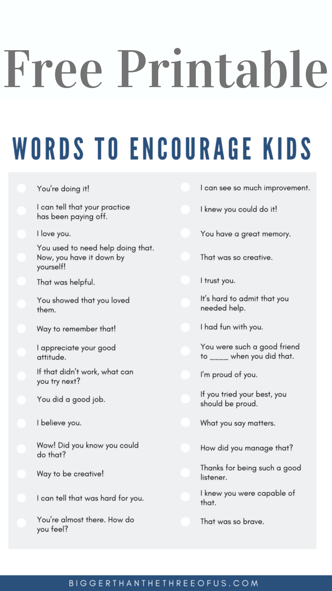 Words Of Encouragement For Kids Words