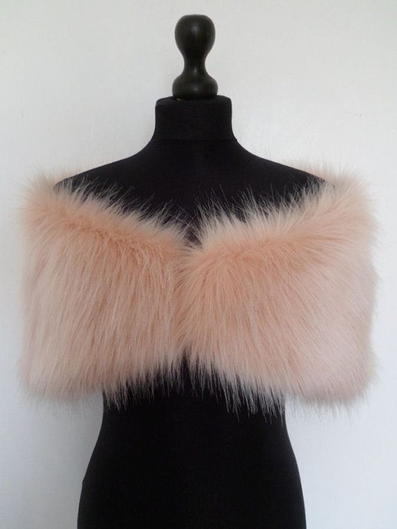 b5901d993 RESERVED for R. luxury faux fur stole, shoulder wrap, shawl, shrug in blush  (peach/rose tint)