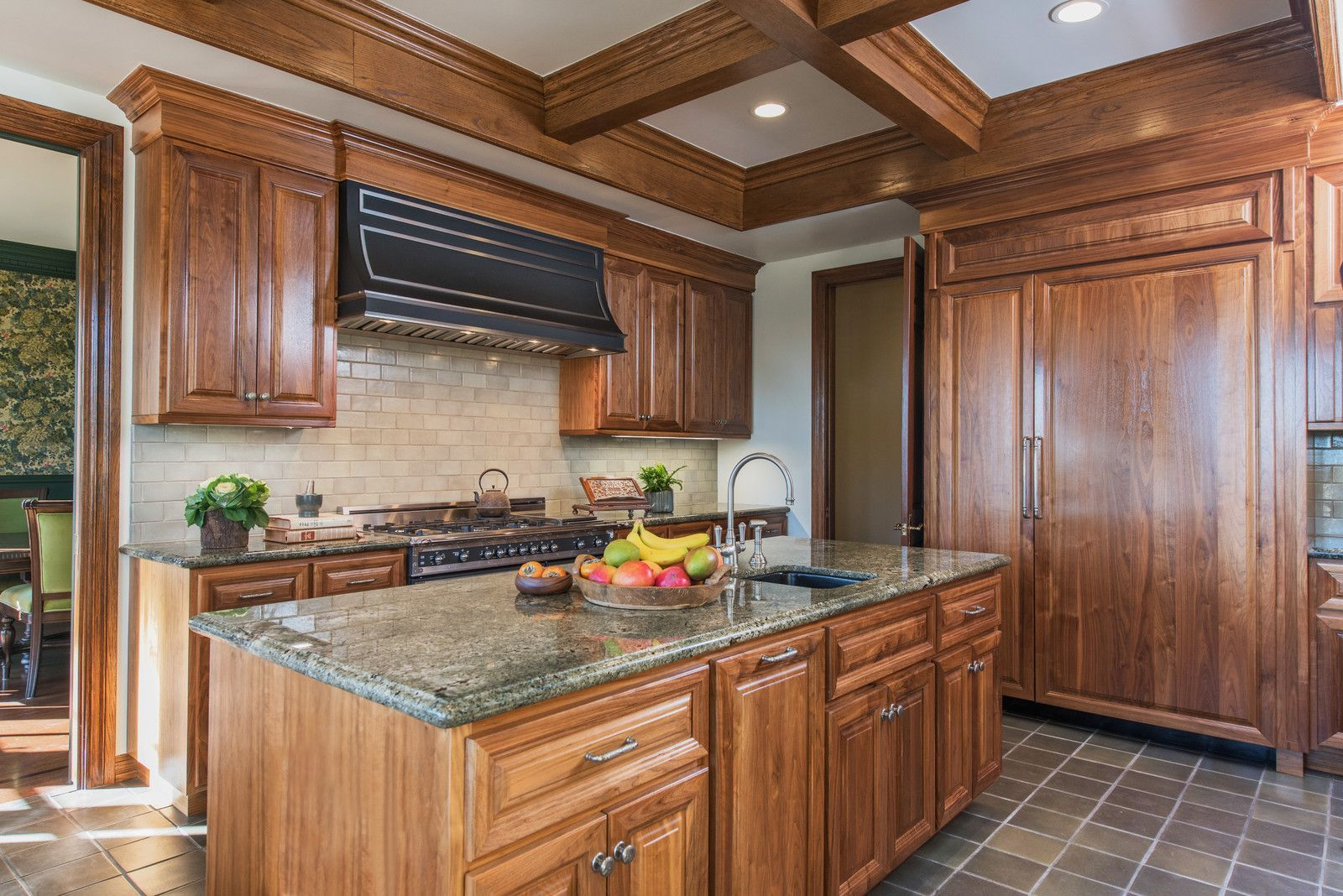 Enclosed Kitchen Large Traditional Galley Porcelain Floor Enclosed Kitchen Idea In Los Ange Walnut Kitchen Cabinets Walnut Kitchen Contemporary Kitchen Sinks