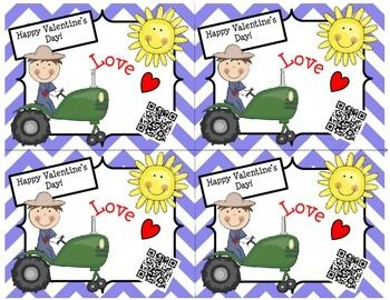 Valentine's Day Cards (Tractor/Chevron) with a Fun QR Code  Pre K - 2nd $ So cute and kids will love! There are MANY different Valentine's Day cards to choose from. If you would like to see more, go to our store (QR Queens) and click Valentine's Day Cards under Custom Categories on the left.