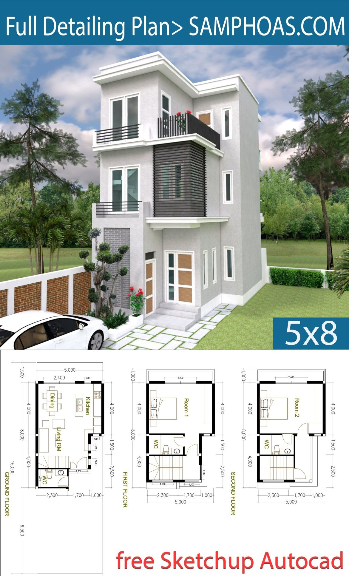 2 Bedroom Tiny Home Plan 5x8m Samphoas Plansearch Sims House Plans House Designs Exterior Tiny House Plans